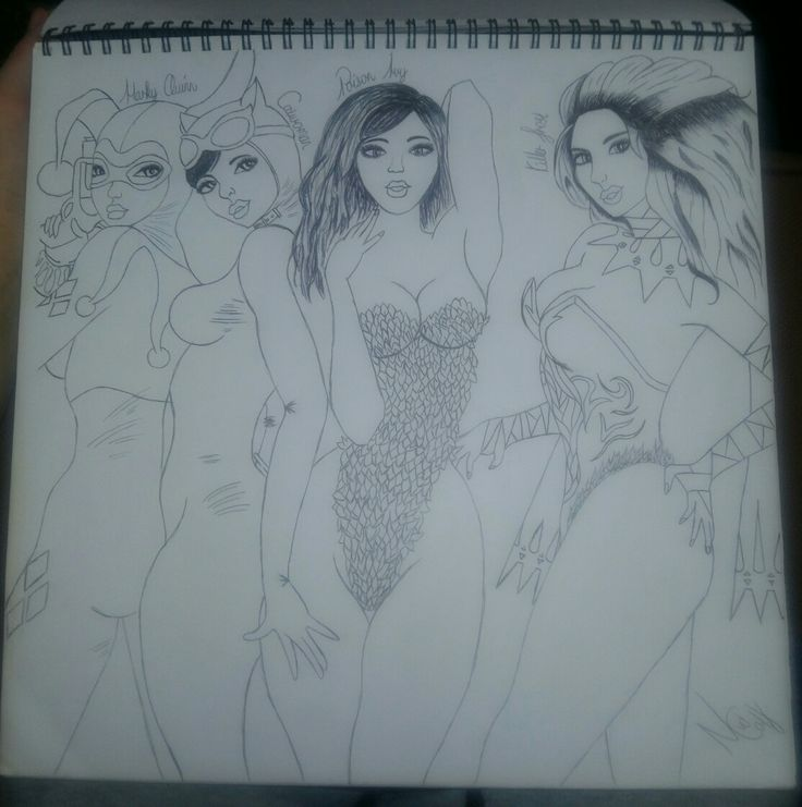 Classic Harley Quinn with Catwoman, Poison Ivy and Killer Frost - By Nelda v.d Colf