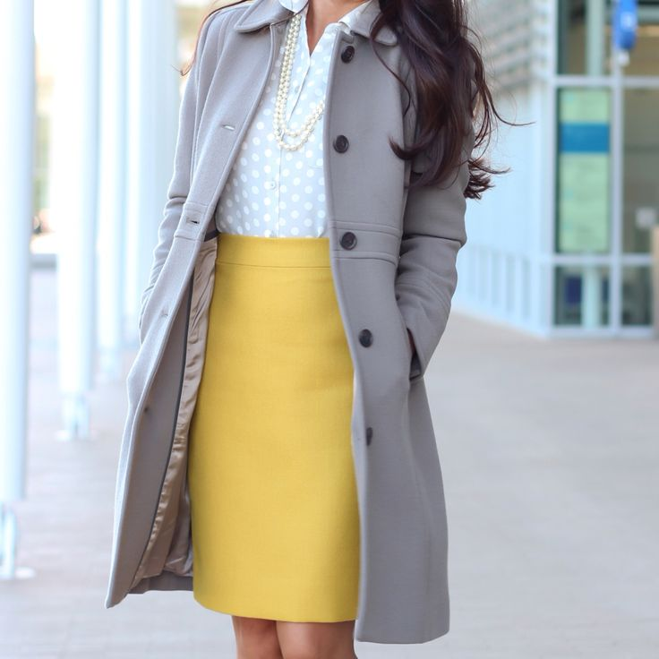 Work / Winter Outfit: Wool Lady day coat in cobblestone grey, Chartreuse pencil skirt, tonal dot button up blouse with double strand pearl necklace // Click the following link to see outfit details and photos: http://www.stylishpetite.com/p/instagram-outfits.html