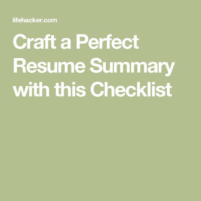 Craft a Perfect Resume Summary with this Checklist Perfect - hard copy of resume