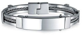 Bling Jewelry Mens 316 Stainless Steel Cable Enclosed Id Bracelet.
