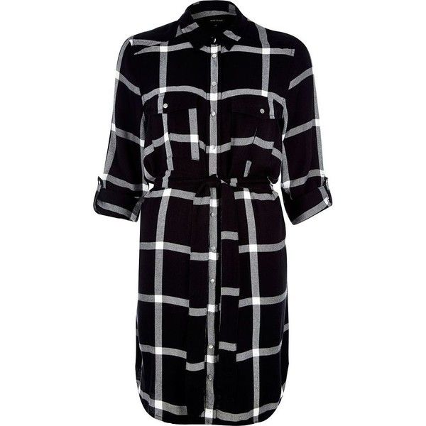 River Island Black check shirt dress (92 CAD) ❤ liked on Polyvore featuring dresses, flannel, black, day / t-shirt dresses, women, sleeved dresses, long-sleeve shirt dresses, tee dress, long sleeve shirt dress and t-shirt dresses