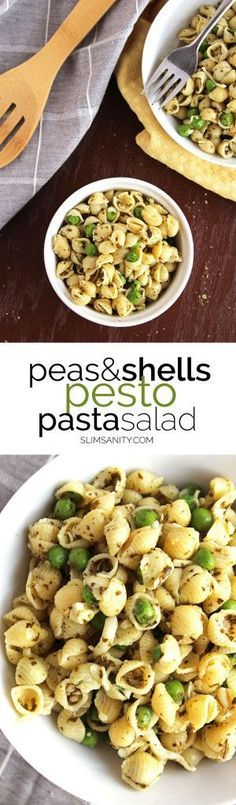 Peas and shells pesto pasta salad - a quick, easy and healthy pasta salad you can bring to your next cook out! | http://slimsanity.com