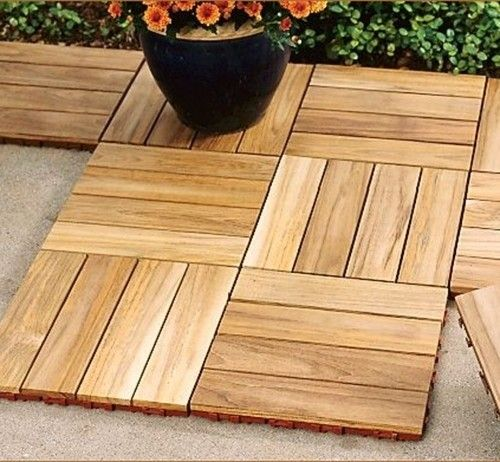 Teak Deck Tile - $19.95   These snap tiles are a really stylish way to re-surface an old patio. I could even put these together without any skill - they snap together. Create multiple design patterns like a parquet floor pattern, herringbone or straightforward decking. A great way to resurface on a budget