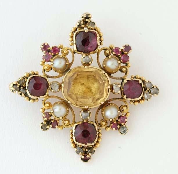 A Victorian citrine, garnet, diamond and seed pearl brooch, c. 1880. #AntiqueJewelry