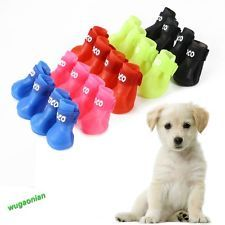 Dog Candy Rain Boots Protective Rubber Pet Waterproof Shoes Booties 5 Colors New