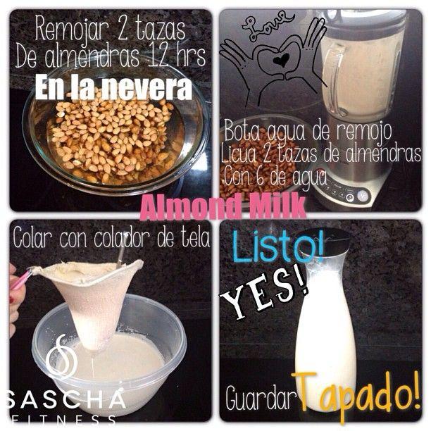Receta de leche de almendras, cada taza tiene 40 calorías y 0 g de azúcar, es ideal en cualquier régimen para perder grasa, puede tomarse de noche, dura de cuatro a cinco días bien refrigerada!... Sí, cambie la foto que usaba para ilustrar la receta, me parecía horrenda jaja..