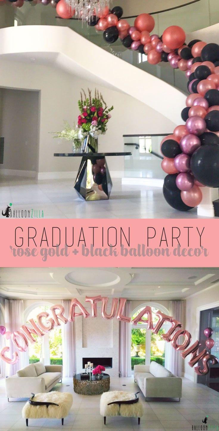 Rose Gold Black Balloon Decor For Graduation Balloongarland