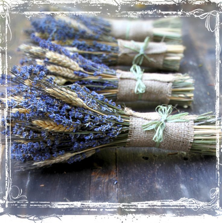 herb bridal bouquets | Wheat And Lavender Hand Tied Bouquet - Dried Flower - Herb Herbal ...