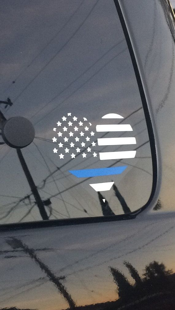 Police Thin Blue Line Decal heart car decal back by TsVinylDesignz