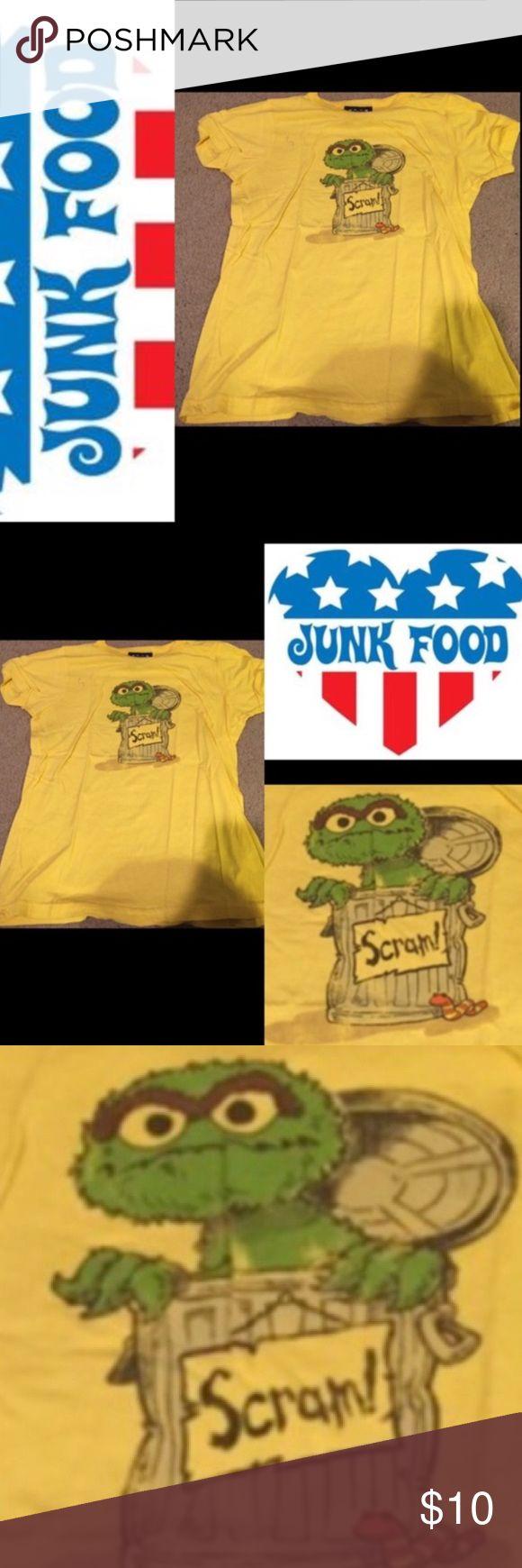 Sesame Street Oscar the grouch junk food scram tee Oscar the grouch junk food scram tee shirt in yellow. Sesame Street Junk Food Tops Tees - Short Sleeve