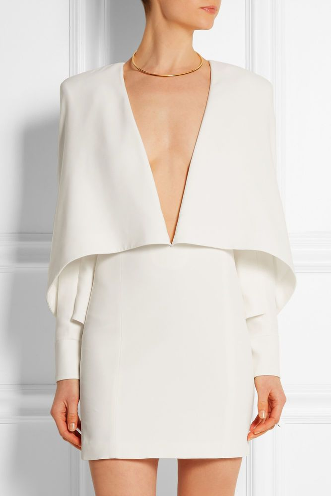 Runway ! Balmain White Plunging neckline CAPE dress it.40 #balamin #Sheath #Clubwear
