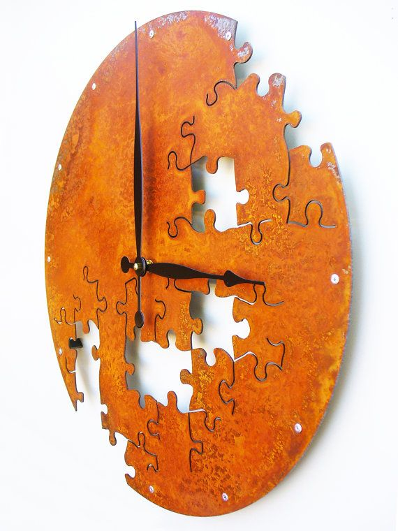 Puzzle Wall Clock V Extra Large Rusted Modern Wall Clock, Rustic Wall Clock, Unique Wall Clock, Modern Home, Steampunk Decor, Industrial, Metal Wall Art, Big, Giant by All15Designs on Etsy