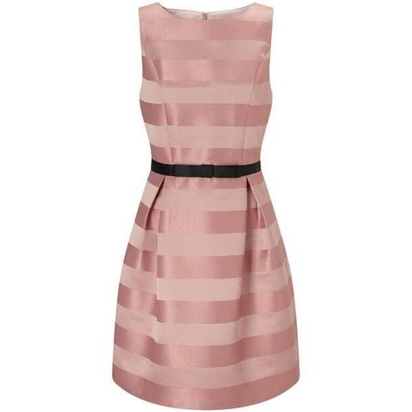 Pink Stripe Prom Dress (5,170 INR) ❤ liked on Polyvore featuring dresses, miss selfridge, striped dresses, pink day dress, prom dresses and striped prom dress