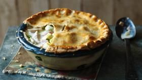 Creamy chicken and tarragon pie. I made this including the crust. It was good! Just added 8oz or chopped cremini mushrooms and 1.5 lbs of chicken.