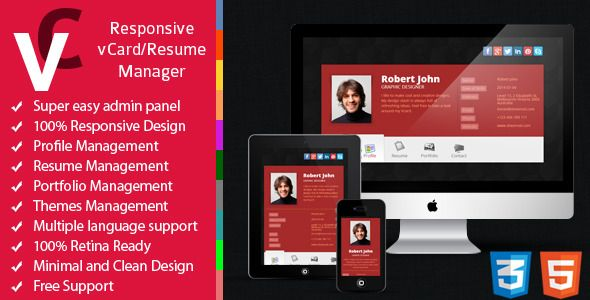 Premium - Responsive vCard/Resume Manager by sheensol Premium Responsive vCard/Resume Manager is a vivid, impressive and professional online vCard/Resume Manager, a beautiful Portfolio with sliding effect, resume and contact information with Google map.It¡¯s extreamly simple in config