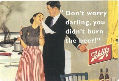 """IlPost - Birra Schlitg - """"Non+ti+preoccupare+tesoro,+non+hai+bruciato+la+birra!"""""""