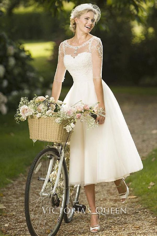 Beaded Illusion Neckline Ivory Lace and Tulle Tea-length Rustic Wedding Dress