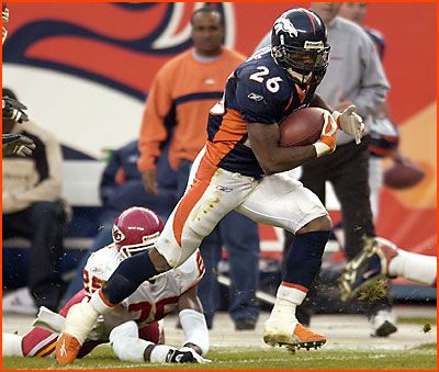 2002. 2nd Rd. #51 overall. Clinton Portis. NFL Record: Youngest player to rush for 6,000 yards- 25 years, 23 days. Before the 2004 season, the Broncos traded Portis to the Redskins for cornerback Champ Bailey and a second-round draft pick in the 2004 NFL Draft.