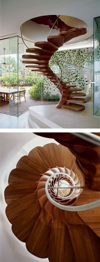 Curved wood stairs a wine drinkers nightmare