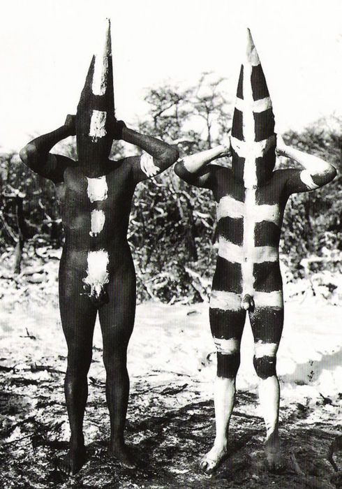 The Selk'nam. Body painting for the Hain adolescent ceremony. Tierra Del Fuego By Martin Gusinde, 1923.