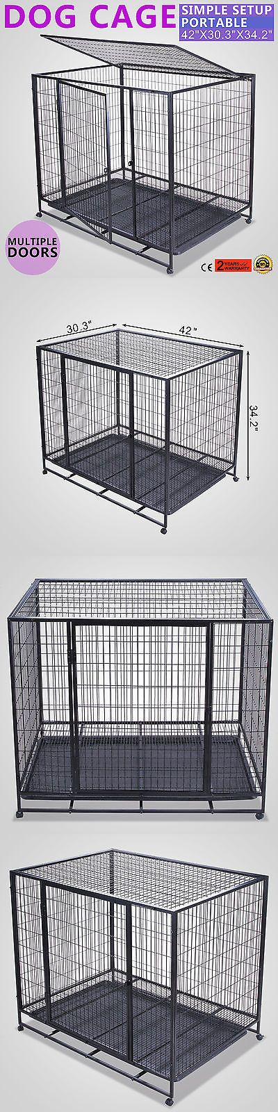Cages and Crates 121851: 42 Heavy Duty Rolling Dog Crate Kennel Pet Cage House W Tray -> BUY IT NOW ONLY: $104.49 on eBay!