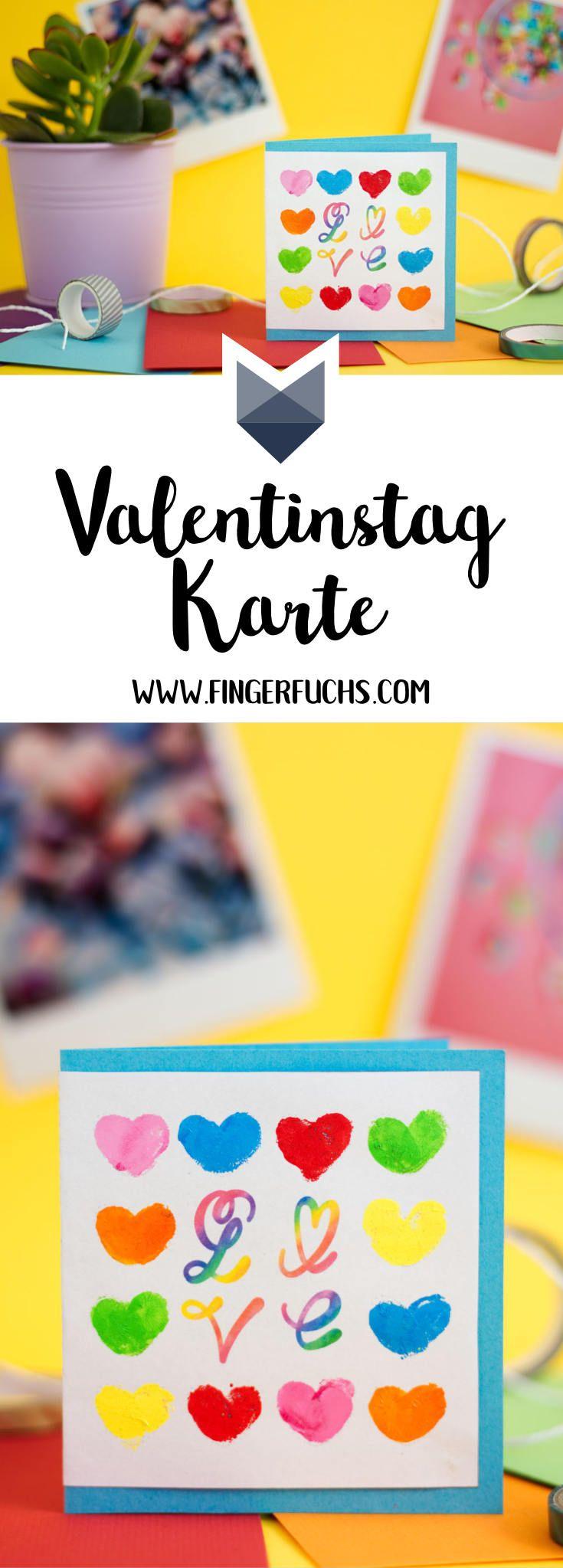 Eine bunte Valentinstag Karte, mit ganz viel Liebe. Klicke hier für eine kostenlose Bastelvorlage für diese Karte. Basteln mit Fingerabdruck - ganz einfach!
