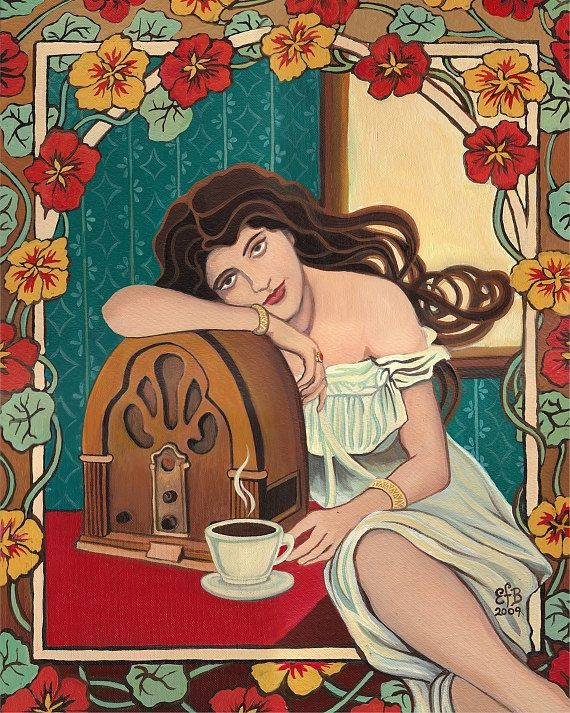 Morning Ritual ~ A print of the original acrylic painting by Emily Balivet.    An Art Nouveau inspired portrait of a vintage pin up girl partaking