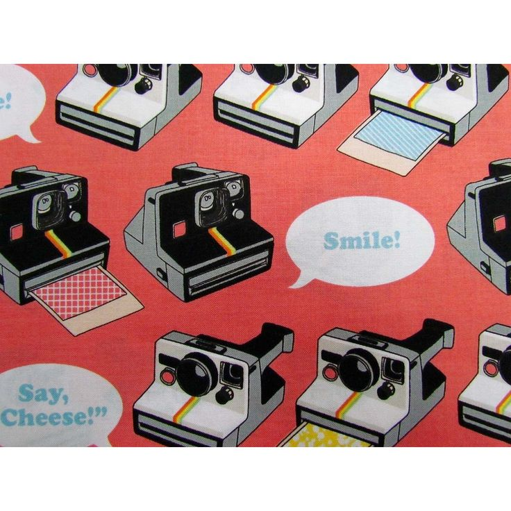 Geekly Chic- Polaroid. #rileyblake #cottonfabric #patchwork #quilting #patchworkfabric #retro