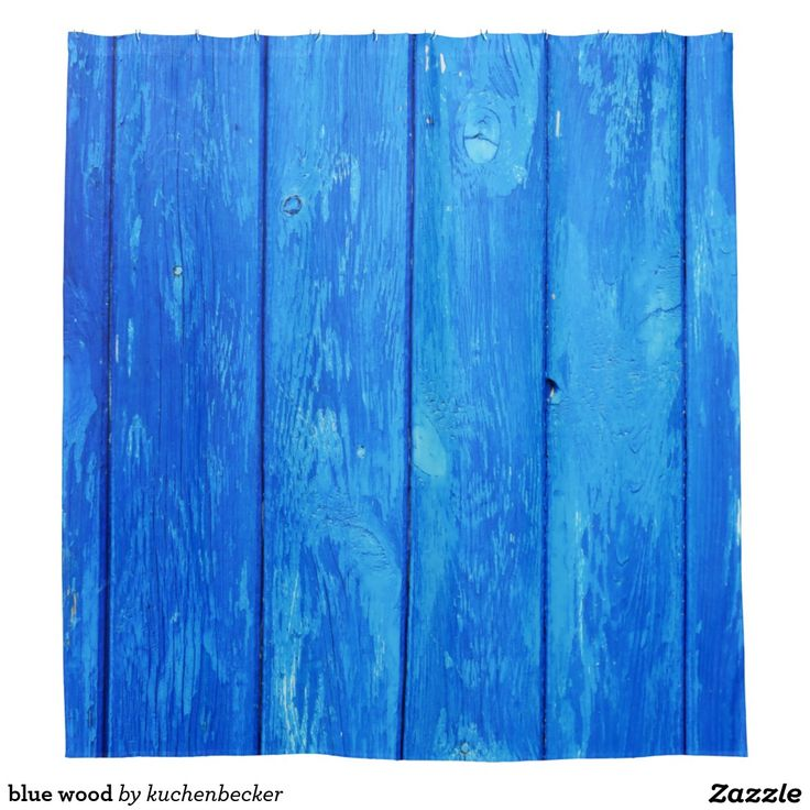 blue wood shower curtain