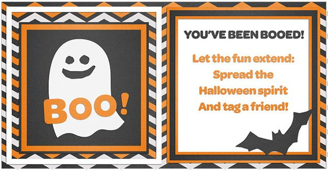 """Spread the spirit of Halloween with this Fall take on Secret Santa! Share treats and signs with neighbors to start a new trick-or-treating trend.  Here are the rules of BOO-ing for your instructions to include:  1.Wish the BOO-ee a Happy Halloween and to enjoy the treats.  2.The BOO-ee must place the """"We've been BOO-ed"""" sign by the front door.  3.The BOO-ee has 72 hours to leave a BOO sign, instructions and treats at two other houses.  Have fun!"""
