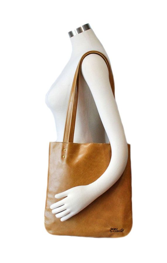 Tan Tote Bag Camel Tote Bag Leather Tote Simple by SimplyClover