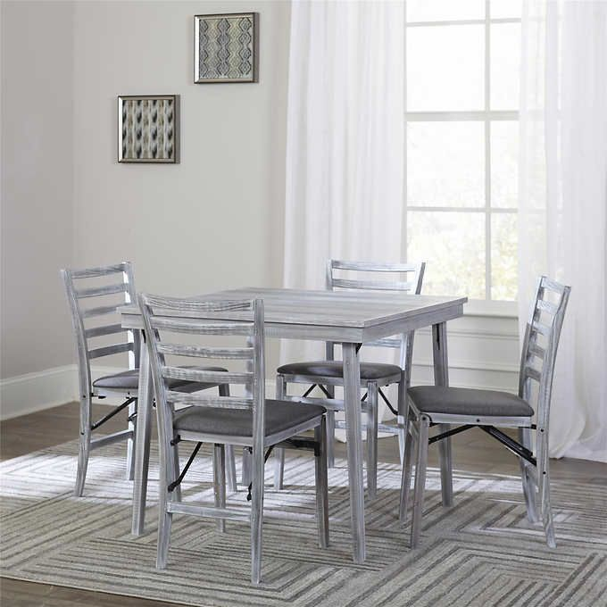 Https Www Costco Com Wood Folding Table With 4 Matching Chairs In Gray Product 100386330 Html Wood Folding Table Wood Folding Chair Folding Table