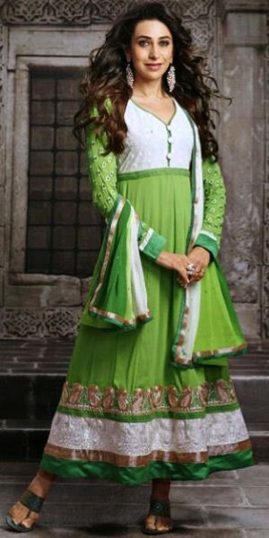karishma in pista green and off-white long length full sleeves pure georgette anarkali suit with chiffon dupatta and shantoon bottom.