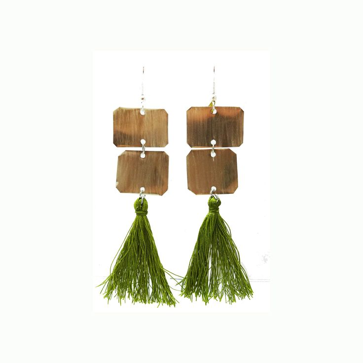 Inox   Green Tassel dangle earrings   A.R.Werner