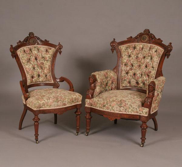 Jelliff Furniture Jelliff Victorian Renaissance Revival Chairs 2pc