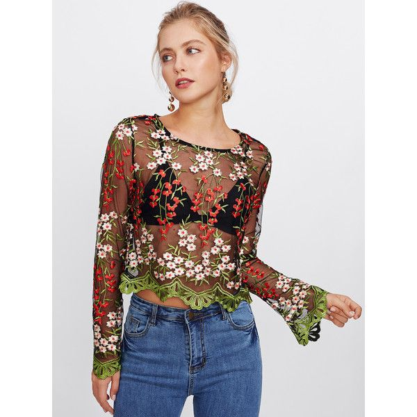 SheIn(sheinside) Embroidery Mesh Scalloped Crop Top (410 MXN) ❤ liked on Polyvore featuring tops, multi color, long sleeve tops, sheer crop top, boho crop top, sexy long sleeve tops and long-sleeve crop tops