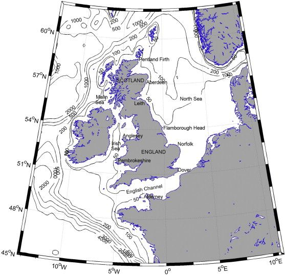 The northwest European shelf seas. Contours are water depths in metres.