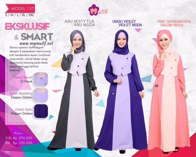Gamis Mutif Model 137 - Baju Muslim yang nyaman dan elegan dengan 2 perpaduan warna yang soft memberikan kesan Muslimah yang SMART. Dipercantik dengan varias...