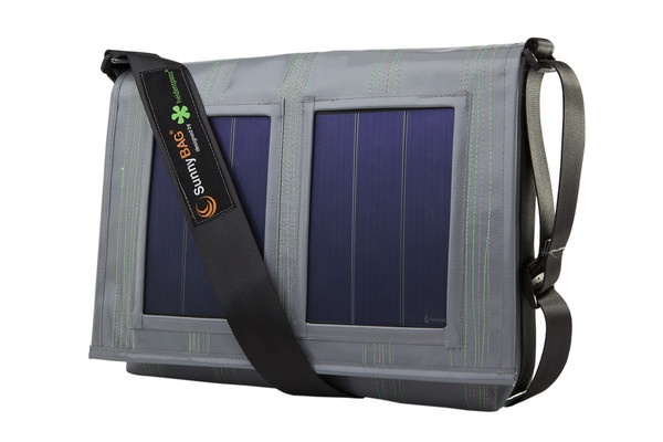 SunnyBAG Faction Pelican Grey - solar power messenger bag that charges your mobile devices while you go! Made from recycled truck tarpaulin and seat belts :)