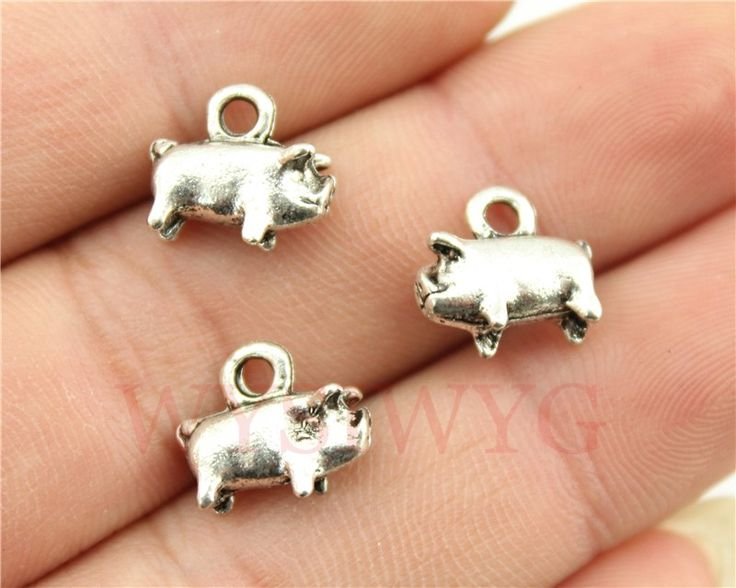 WYSIWYG 9pcs/lot 11*11*4mm antique silver plated 3d pig charms //Price: $2.95 & FREE Shipping //     #hashtag3
