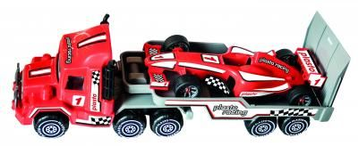 Plasto Trailer and Formula 1 Racing Car, includes stickers. The trailer is 47cm. Made in Finland all Plasto toys are manufactured of food contact safe plastic. There are no phthalates, BisfenolA, lead, cadmium or other hazardous chemicals in their toys.