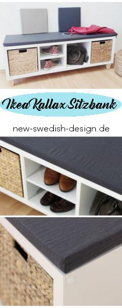 Ikea Hack - Sitzbank aus dem Ikea Kallax Regal mit Regalkörben. Clevere Ikea Hack Storage Lösung für den Flur