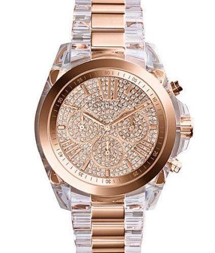 11fffb0c5fa Michael Kors Women's Bradshaw Clear & Rose Gold-Tone Bracelet Watch MK5905
