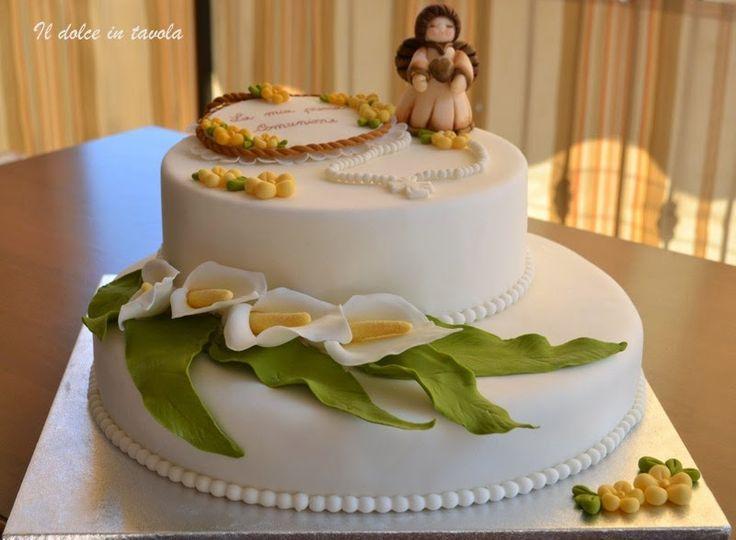 Il dolce in tavola torta prima comunione torte prima comunione pinterest communion cakes - Addobbo tavola prima comunione ...