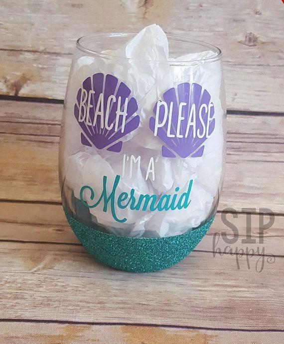 Beach Please, I'm A Mermaid, Glitter Wine Glass, Funny Glass, Mermaid Life, Beach Life, Seashell, Custom Wine Glass, Stemless Glass, Summer