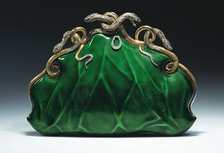 Evening Bag / c. 1968 / Aloisia Rucellai / gold and platinum, translucent enamel, diamonds, and rubies