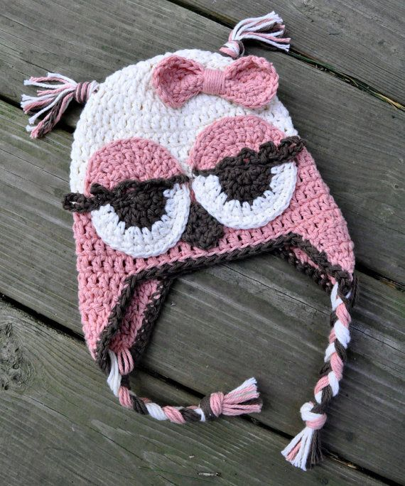 Baby Girl Crochet Owl Hat, 6 to 9 mos, 9 to 12 mos, 12 to 24 mos on Etsy, $24.00