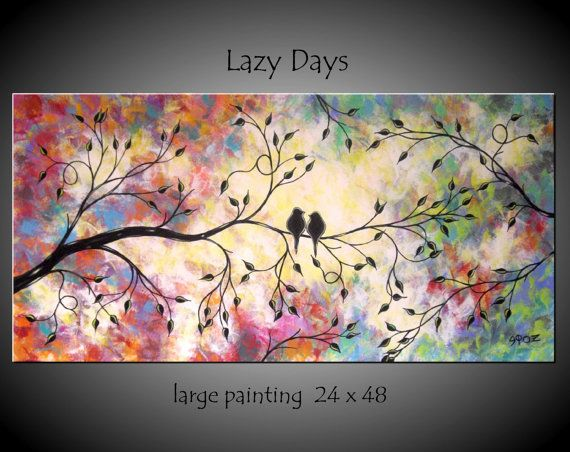 Large Abstract Love Birds Painting by jmichaelpaintings on Etsy, $199.99