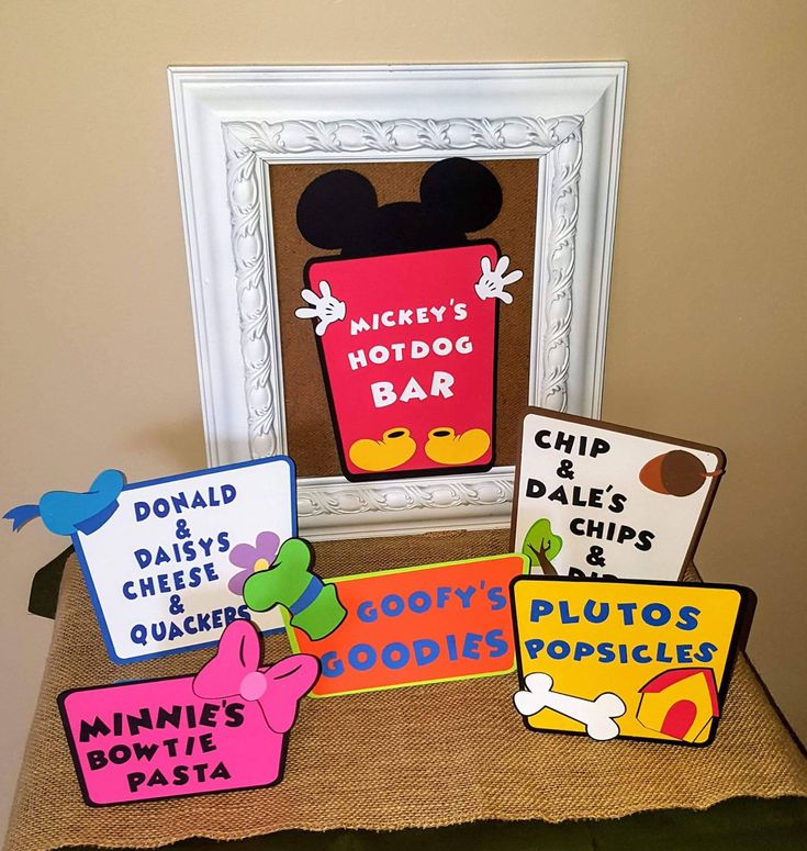 Mickey mouse birthday party food signs - Mickey mouse clubhouse- Birthday party - Food labels - Hot digitty dog bar - Mickey party by SunshineandClovers on Etsy https://www.etsy.com/listing/546214687/mickey-mouse-birthday-party-food-signs