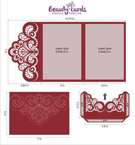 Wedding Invitation Template Envelope Tri Fold Ornamental For Etsy Cricut Wedding Invitations Wedding Invitation Templates Wedding Invitation Envelopes